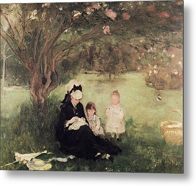 Beneath The Lilac At Maurecourt Metal Print by Berthe Morisot