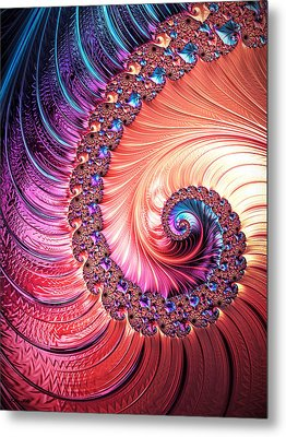 Beneath The Sea Spiral Metal Print by Kathy Kelly