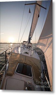 Beneteau 49 Sailing Yacht Close Hauled Charleston Sunset Sailboat Metal Print by Dustin K Ryan