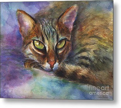 Bengal Cat Watercolor Art Painting Metal Print
