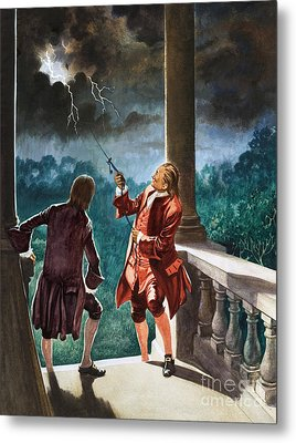 Benjamin Franklin Proves That Lightning Is Electricity Metal Print by Peter Jackson