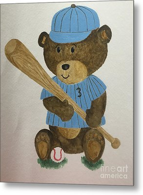 Metal Print featuring the painting Benny Bear Baseball by Tamir Barkan
