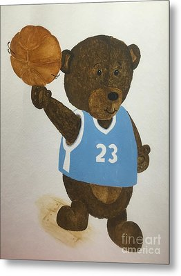 Metal Print featuring the painting Benny Bear Basketball  by Tamir Barkan