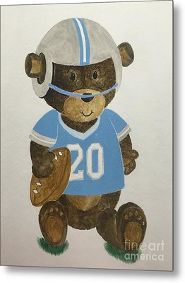 Metal Print featuring the painting Benny Bear Football by Tamir Barkan