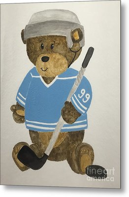 Metal Print featuring the painting Benny Bear Hockey by Tamir Barkan