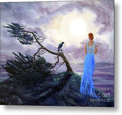 Bent Cypress And Blue Lady Metal Print by Laura Iverson