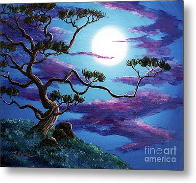 Bent Pine Tree At Moonrise Metal Print