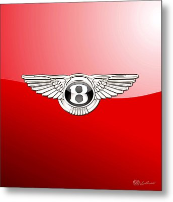 Bentley 3 D Badge On Red Metal Print by Serge Averbukh