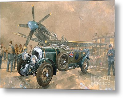 Bentley And Spitfire Metal Print by Peter Miller