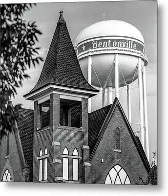 Metal Print featuring the photograph Bentonville Arkansas Cityscape Church Water Tower - Black And White by Gregory Ballos