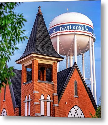 Metal Print featuring the photograph Bentonville Arkansas Cityscape Church Water Tower by Gregory Ballos