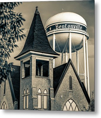 Metal Print featuring the photograph Bentonville Arkansas Cityscape Church Water Tower - Sepia by Gregory Ballos