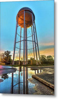 Bentonville Arkansas Water Tower After Rain Metal Print by Gregory Ballos
