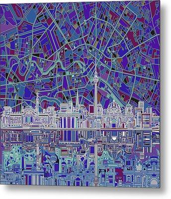 Berlin City Skyline Abstract 3 Metal Print by Bekim Art