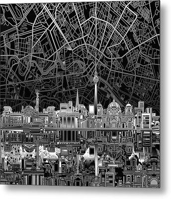Berlin City Skyline Abstract 4 Metal Print by Bekim Art