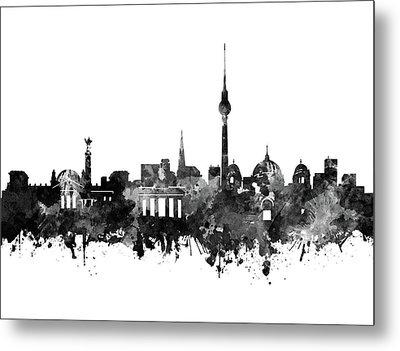Berlin City Skyline Black And White Metal Print by Bekim Art