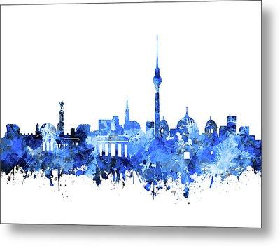 Berlin City Skyline Blue Metal Print by Bekim Art