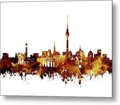 Berlin City Skyline Brown Metal Print by Bekim Art