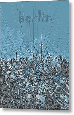 Berlin City Skyline Map 3 Metal Print by Bekim Art