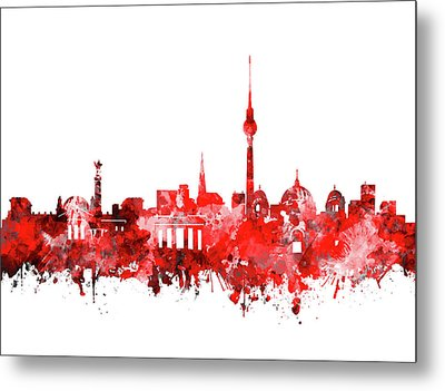 Berlin City Skyline Red Metal Print by Bekim Art