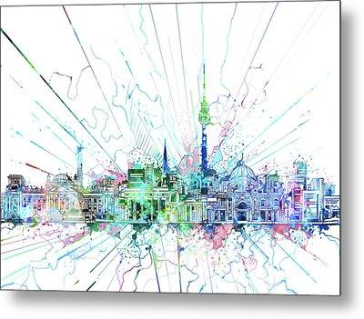 Berlin City Skyline Watercolor 3 Metal Print by Bekim Art