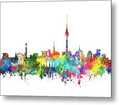 Berlin City Skyline Watercolor Metal Print by Bekim Art