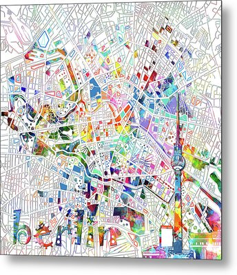 Berlin Map White Metal Print by Bekim Art