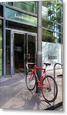Berlin Street View With Red Bike Metal Print by Ben and Raisa Gertsberg