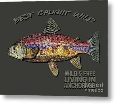 Metal Print featuring the digital art Fishing - Best Caught Wild-on Dark by Elaine Ossipov