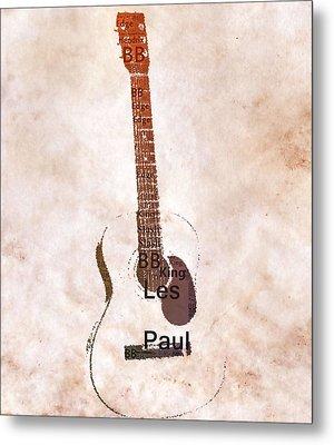 Best Guitarists Typography Warm Metal Print