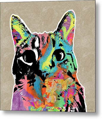 Best Listener Kitty- Pop Art By Linda Woods Metal Print