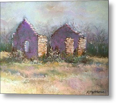 Metal Print featuring the pastel Bethel School At Sunset by Rebecca Matthews