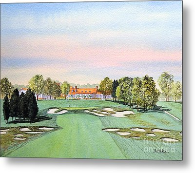 Metal Print featuring the painting Bethpage State Park Golf Course 18th Hole by Bill Holkham