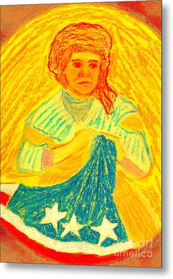 Metal Print featuring the painting Betsy Ross Flag Myth Or Reality by Richard W Linford