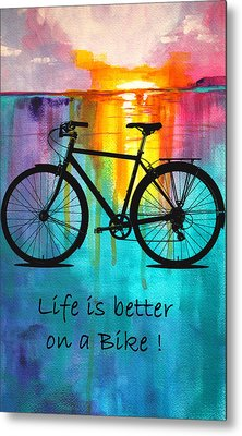 Better On A Bike Metal Print