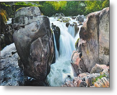 Betws-y-coed Waterfall In North Wales Metal Print by Harry Robertson