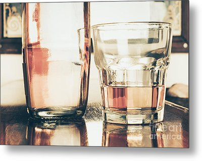Beverage Picture On A Glass Of Golden Rum 50ml Metal Print