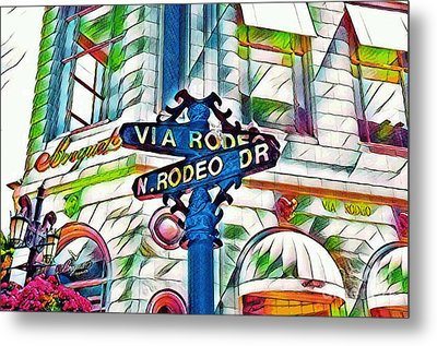 Beverly Hills Rodeo Metal Print by Victor Arriaga