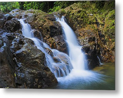 Bexon Waterfall In Color- St Lucia  Metal Print