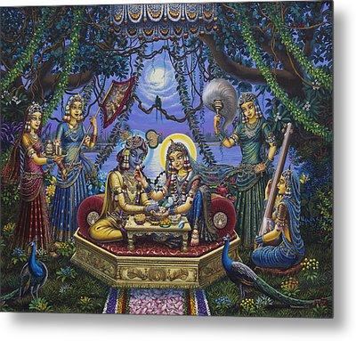 Bhojan Lila Radha Krishna Metal Print by Vrindavan Das