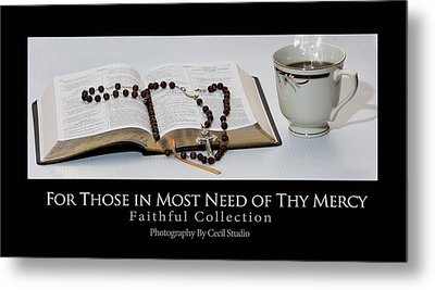 Bible And  Rosary Metal Print