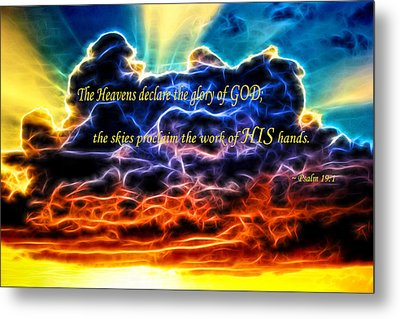 Metal Print featuring the photograph Biblical Electrified Cumulus Clouds Skyscape - Psalm 19 1 by Shelley Neff