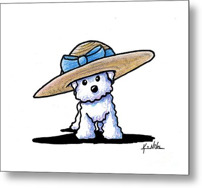 Bichon In Hat Metal Print