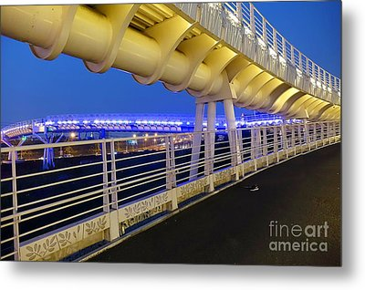Metal Print featuring the photograph Bicycle And Pedestrian Overpass by Yali Shi