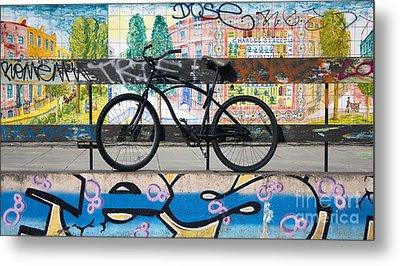 Bicycle Graffiti Metal Print by Christos Koudellaris