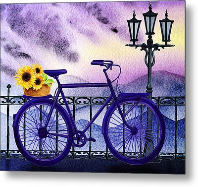 Blue Bicycle And Sunflowers By Irina Sztukowski  Metal Print