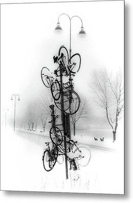 Bicycle Lamppost In Winter Metal Print