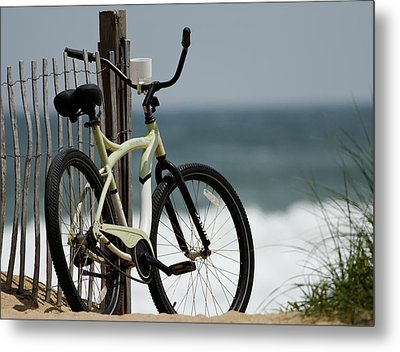 Bicycle On The Beach Metal Print by Julie Niemela