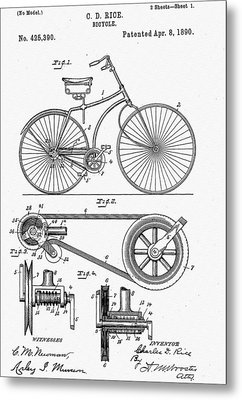 Bicycle Patent 1890 Metal Print