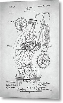 Bicycle Patent Metal Print by Taylan Apukovska